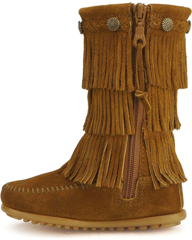 Minnetonka Girls' Fringed Suede Boots