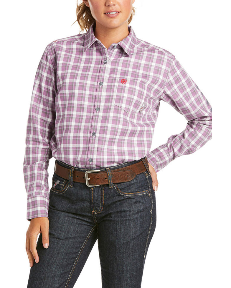 Ariat Women's FR Lavender Plaid Aja Logo Long Sleeve Button Work Shirt , Lavender, hi-res
