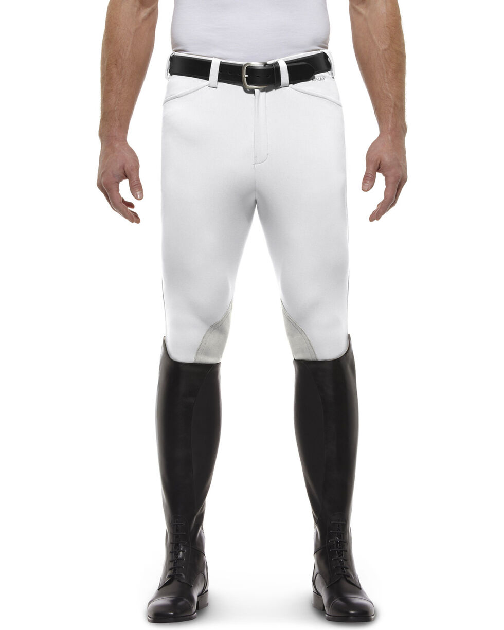 Ariat Men's Olympia Front Zip Knee Pad Riding Breeches, White, hi-res
