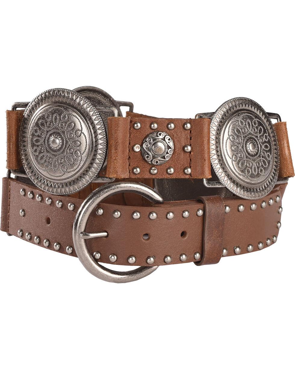 Roper Women's Brown Conchos Nail Head Leather Belt , , hi-res