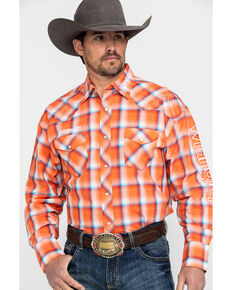 Wrangler Men's Logo Plaid Long Sleeve Western Shirt , Orange, hi-res