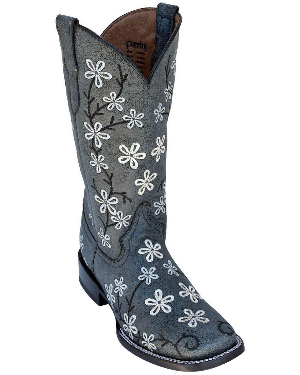 Ferrini Women's Smoky Bloom Western Boots - Square Toe, Black, hi-res