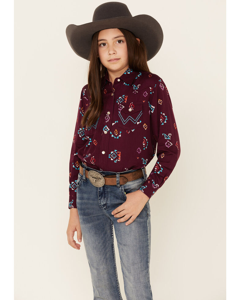 Wrangler Girls' Burgundy Aztec Print Long Sleeve Western Shirt , Burgundy, hi-res