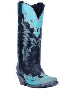 Dan Post Women's Tia Overlay Western Boots - Snip Toe, Black, hi-res