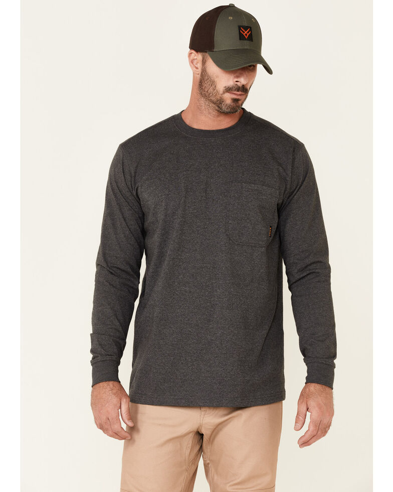 Hawx Men's Solid Charcoal Forge Long Sleeve Work Pocket T-Shirt - Tall , Charcoal, hi-res