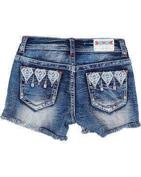 Grace In LA Girls'  Embroidered Frayed Shorts, Blue, hi-res