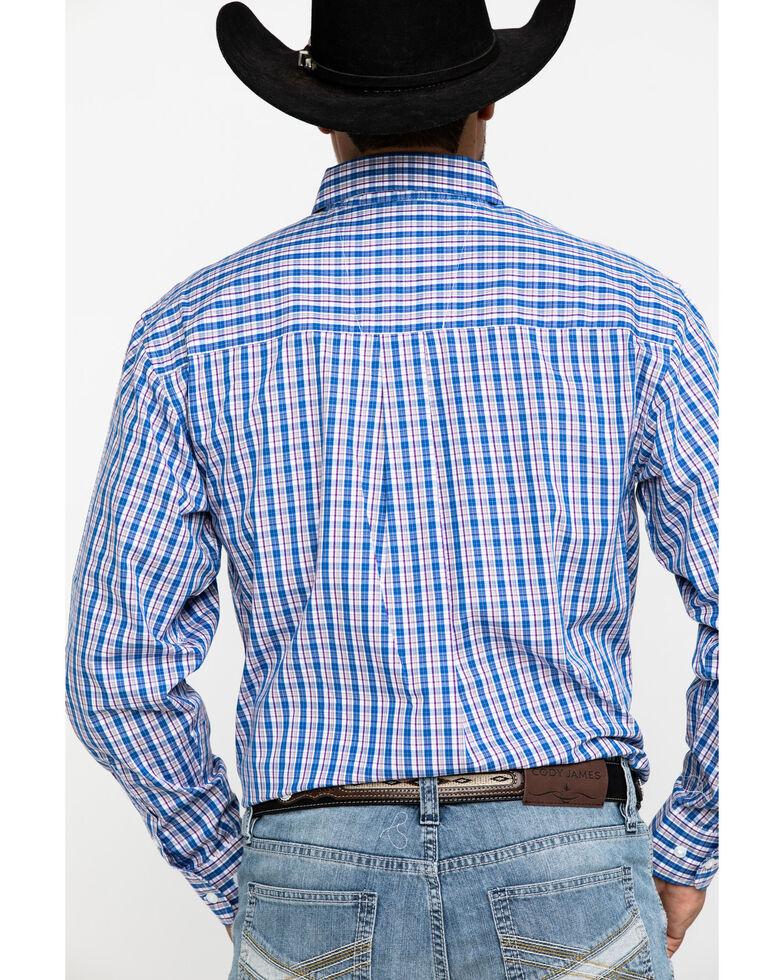 Wrangler Men's Classic Blue Small Plaid Long Sleeve Western Shirt , Blue, hi-res