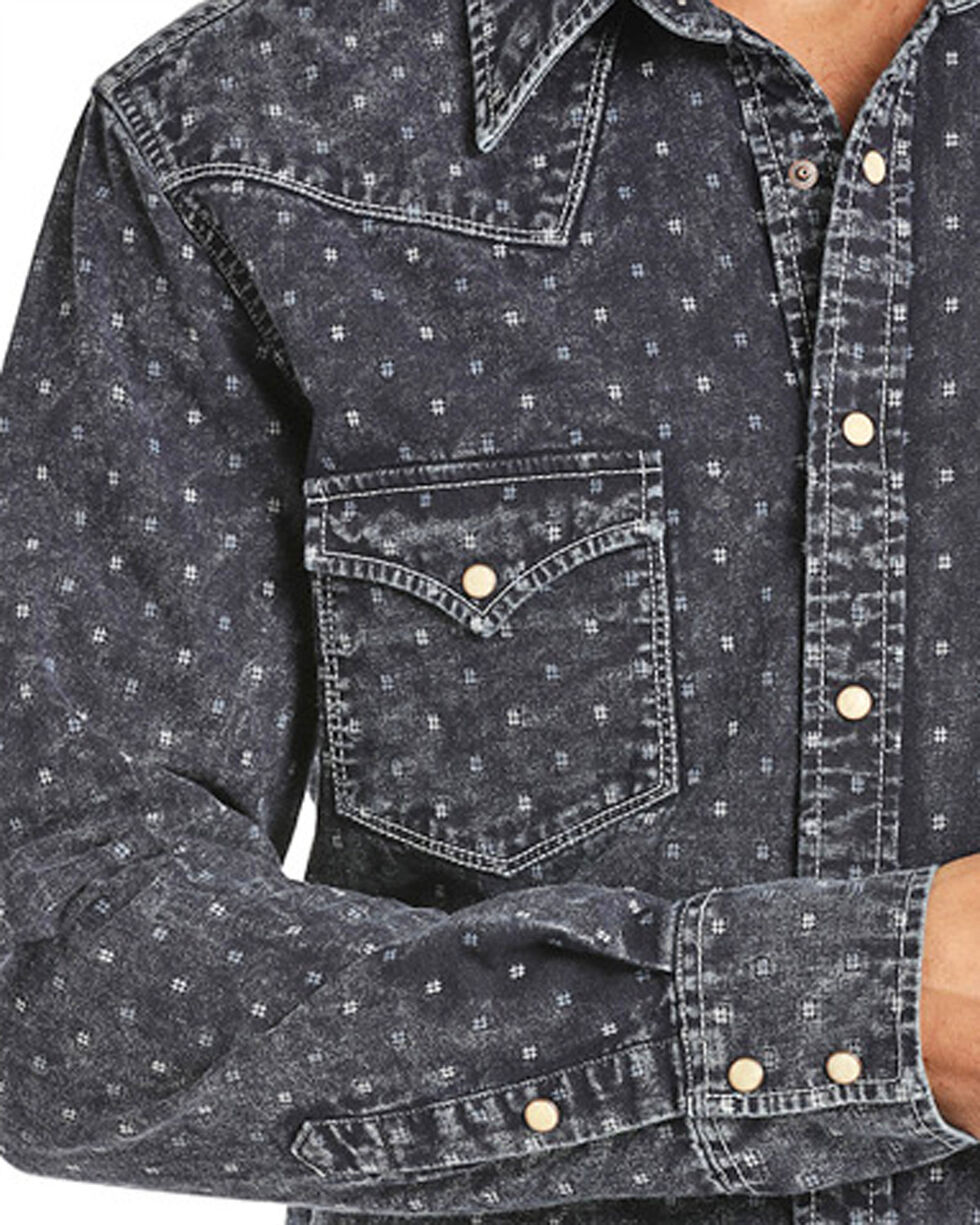 Rock & Roll Cowboy Men's Indigo-Dyed Double Weave Long Sleeve Snap Shirt, Indigo, hi-res