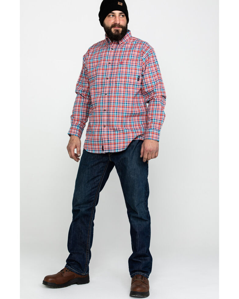 Ariat Men's FR Hunter Classic Plaid Long Sleeve Work Shirt , Bark, hi-res
