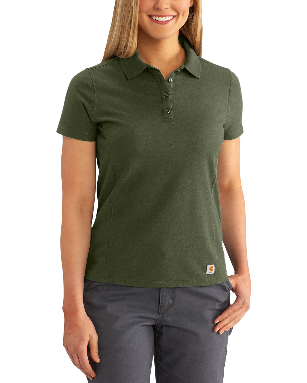 Carhartt Women's Contractor's Short Sleeve Work Polo , Moss Green, hi-res