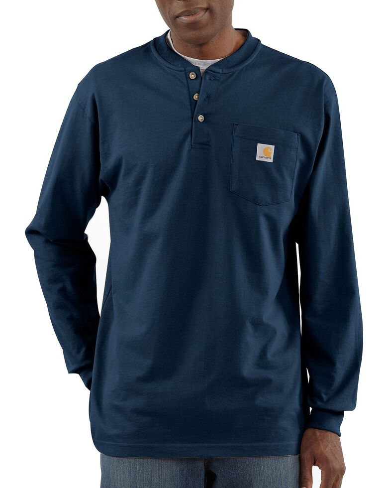Carhartt Men's Solid Henley Long Sleeve Work Shirt, Navy, hi-res