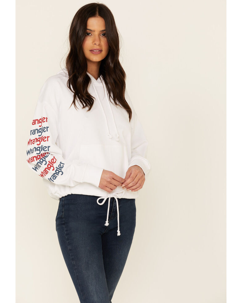 Wrangler Women's White Arm Logo Drawstring Hoodie , White, hi-res