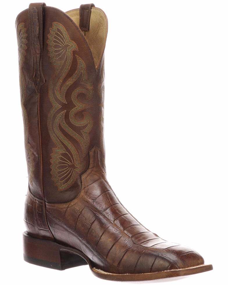 Lucchese Men's Roy Brown/Tan Giant Gator Horseman Boots - Square Toe, Brown, hi-res