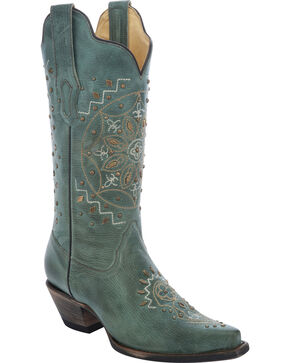 Corral Women's Jade Embroidered Western Boots, Jade, hi-res