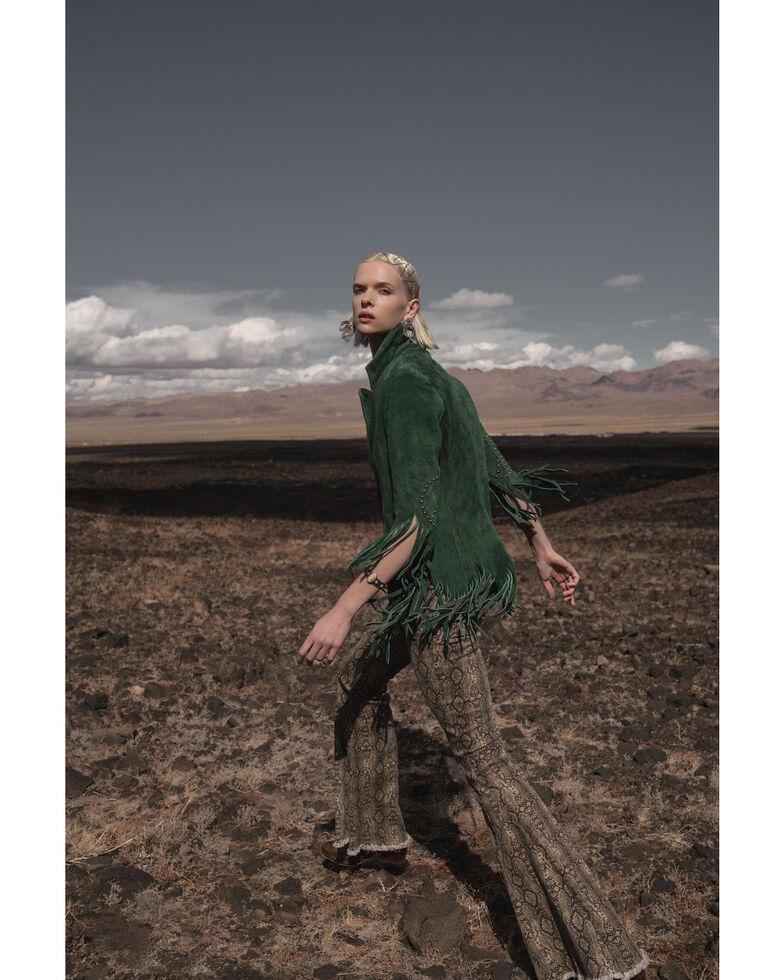 Understated Leather Women's Emerald Suede Fringe Peace Blazer , Hunter Green, hi-res
