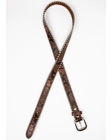 Shyanne Women's Snake Print Skinny Belt, Brown, hi-res