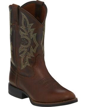 Justin Stampede Men's Brick Buff Cowboy Boots - Round Toe, Chilli, hi-res