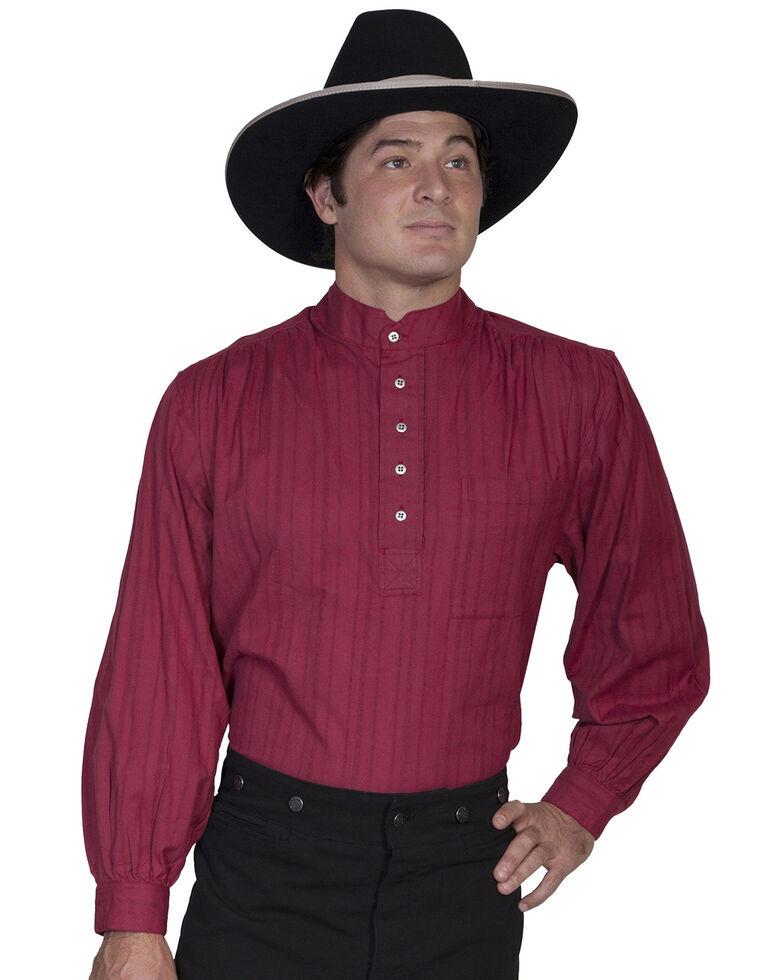 Rangewear by Scully Men's Lightweight Railroader Long Sleeve Western Shirt , Burgundy, hi-res