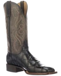 Lucchese Men's Roy Gator Western Boots - Square Toe, Black, hi-res