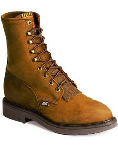 Justin Men's Lace Up Work Boots, Brown, hi-res