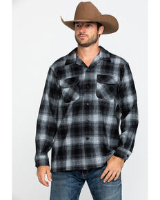 Pendleton Men's Black Board Oxford Plaid Long Sleeve Western Shirt , Black, hi-res