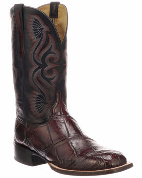 Lucchese Men's Handmade Roy Black Cherry/Black Giant Gator Horseman Boots - Square Toe , Black Cherry, hi-res