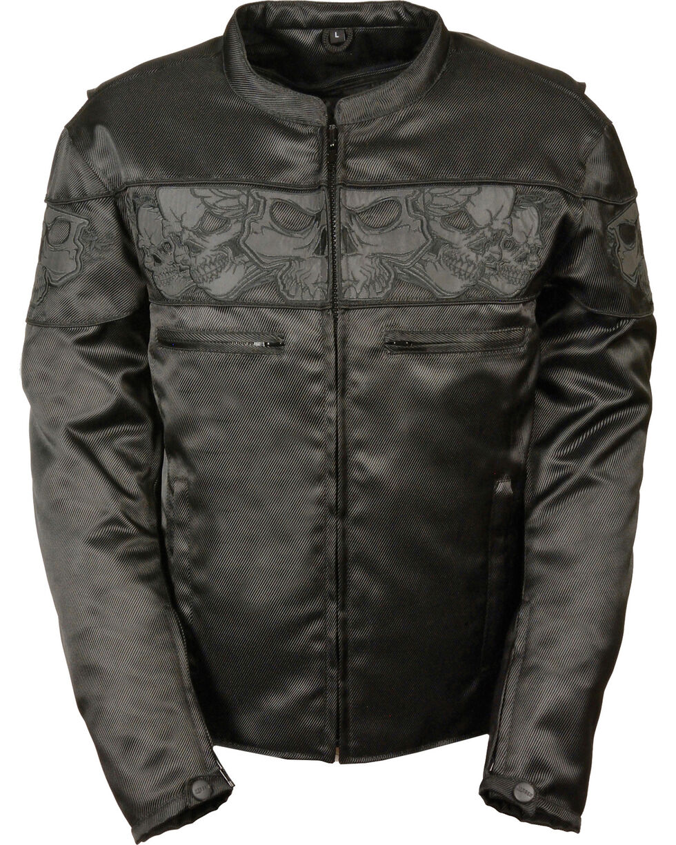 Milwaukee Leather Men's Reflective Skulls Textile Jacket - Big - 4X, Black, hi-res