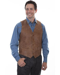 Scully Men's Vintage Leather Brown Western Vest, Brown, hi-res