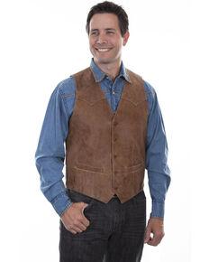 Scully Men's Vintage Leather Brown Western Vest, Brown, hi-res