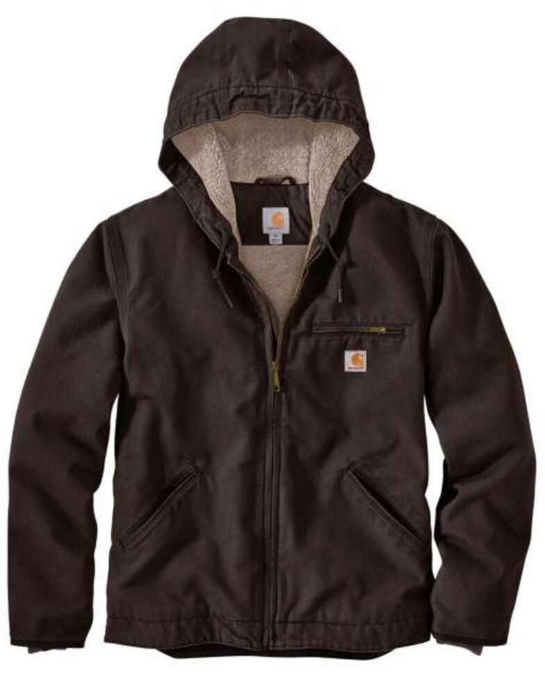 Carhartt Men's Dark Brown Washed Duck Sherpa Lined Hooded Work Jacket , Brown, hi-res