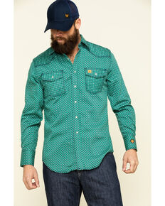 Wrangler 20X Men's FR Green Geo Print Long Sleeve Work Shirt - Tall , Green, hi-res