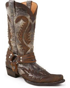Stetson Men's Washed Harness Boots, Brown, hi-res