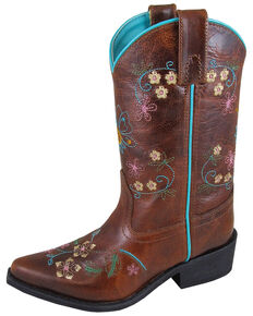 Smoky Mountain Girls' Florence Embroidered Western Boots - Snip Toe, Brown, hi-res