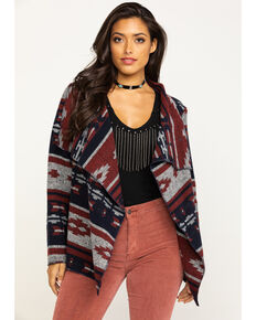 Cripple Creek Women's Navy Navajo Open Front Blanket Wrap Cardigan, Navy, hi-res