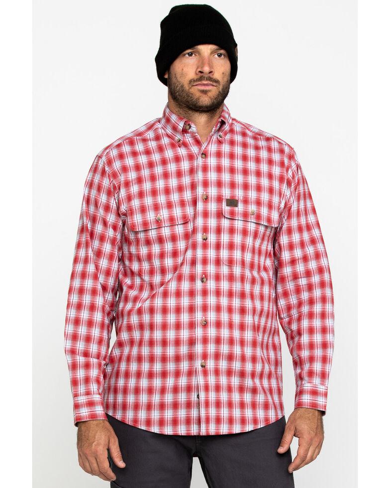 Wrangler Riggs Men's Red Plaid Long Sleeve Work Shirt - Big , Red, hi-res