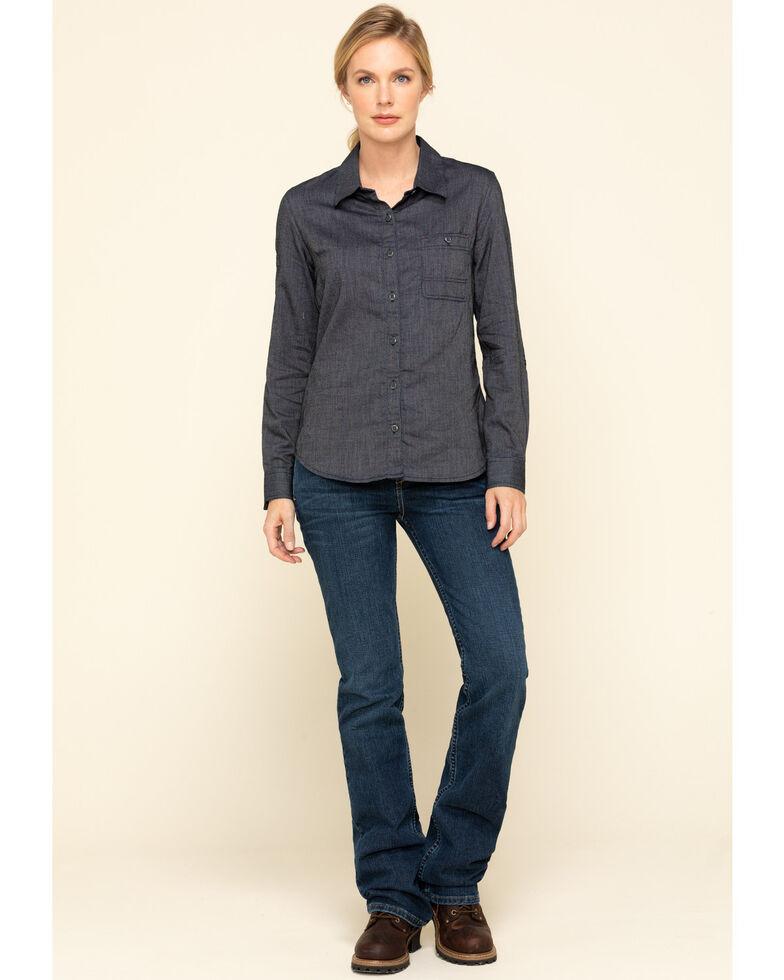 Dovetail Workwear Women's Indigo Herringbone Givens Work Shirt, Indigo, hi-res