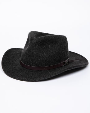 Dorfman Crush Yukon Felt Hat, Charcoal, hi-res