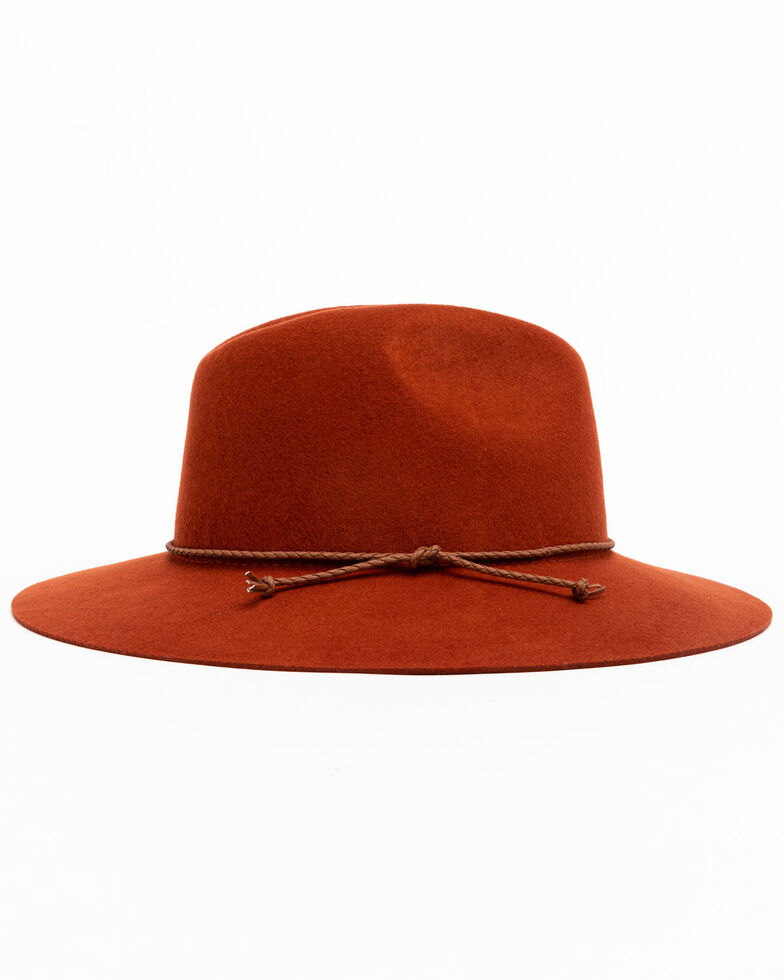 Shyanne Women's Rust Wool Felt Stiff Brim Fedora Hat , Rust Copper, hi-res