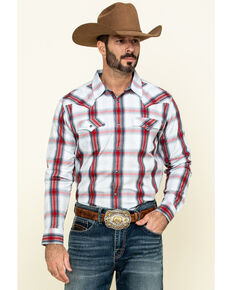 Cody James Men's Rough Talk Plaid Long Sleeve Western Shirt - Big , Red, hi-res