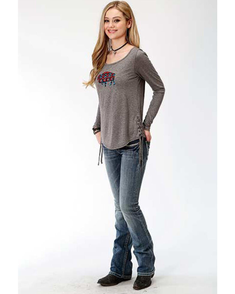 Roper Women's Grey Side Tie Graphic Long Sleeve Tee , Grey, hi-res