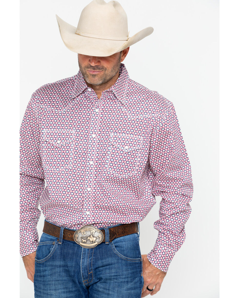 Wrangler 20X Men's Red Geo Print Long Sleeve Advanced Competition Shirt , Blue, hi-res