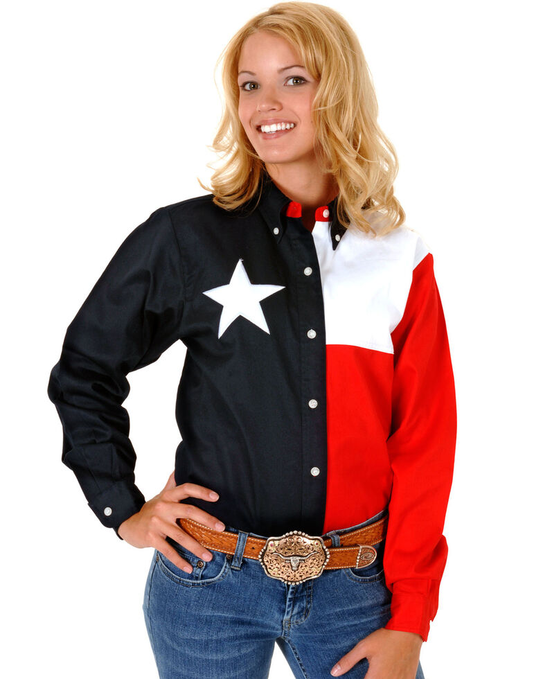Roper Women's Texas Flag Button-Down Shirt, Navy, hi-res
