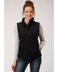 Roper Women's Black Soft Shell Bonded Fleece Lined Vest, Black, hi-res