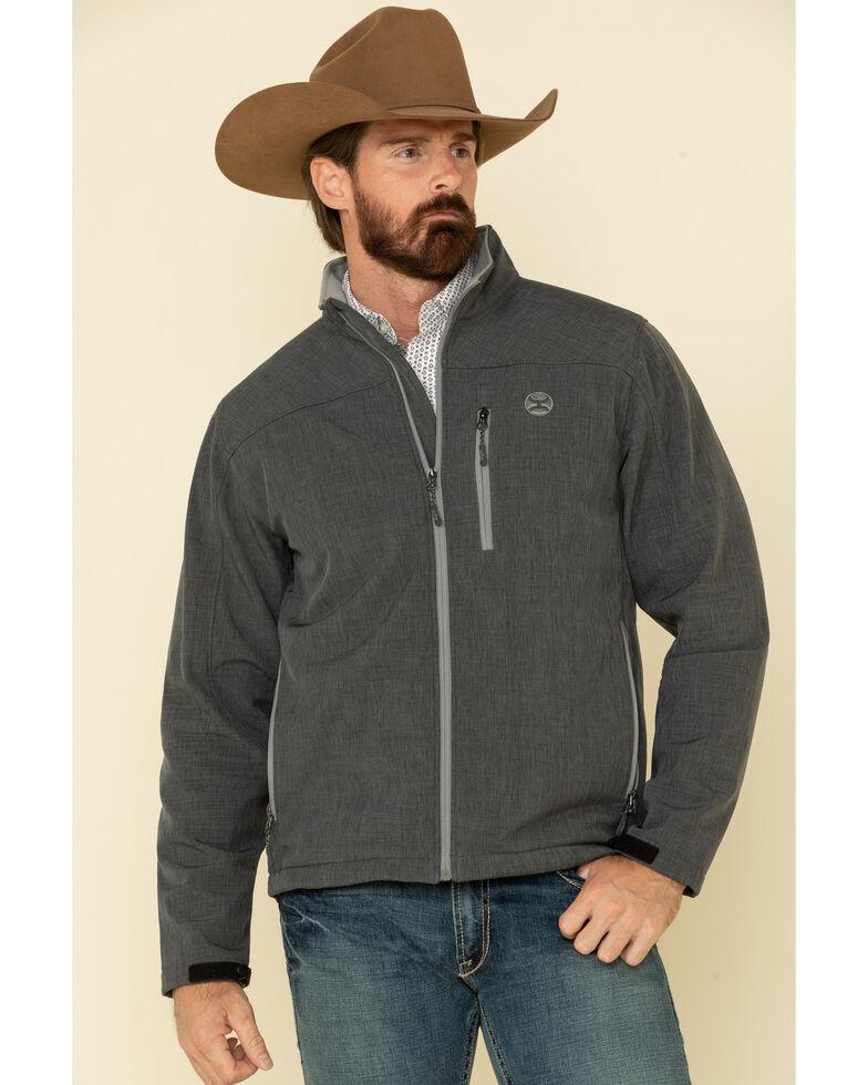 HOOey Men's Charcoal Logo Sleeve Zip-Up Softshell Jacket , Charcoal, hi-res