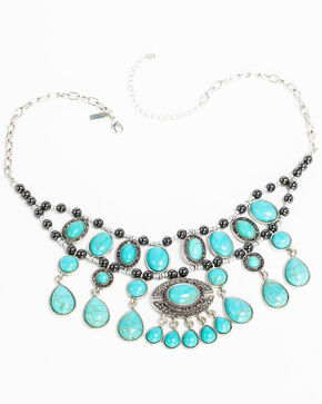 Shyanne Women's Turquoise Bib Necklace, Silver, hi-res