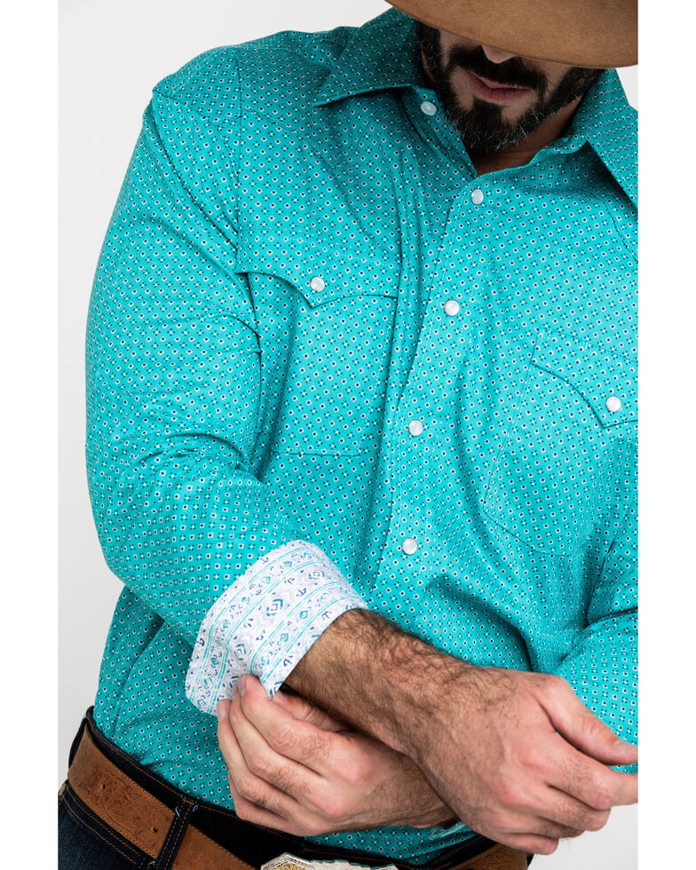 Rough Stock By Panhandle Men's Sansome Vintage Print Long Sleeve Western Shirt , Teal, hi-res