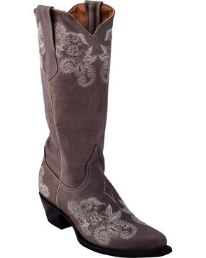 Ferrini Women's Southern Lace Grey Cowgirl Boots - Snip Toe, Grey, hi-res