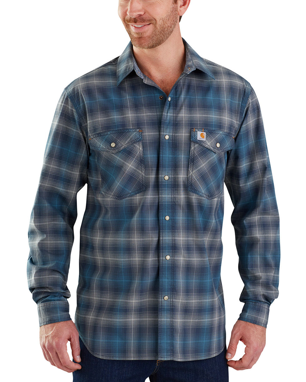 Carhartt Men's Rugged Flex Bozeman Long Sleeve Shirt - Big & Tall , Navy, hi-res