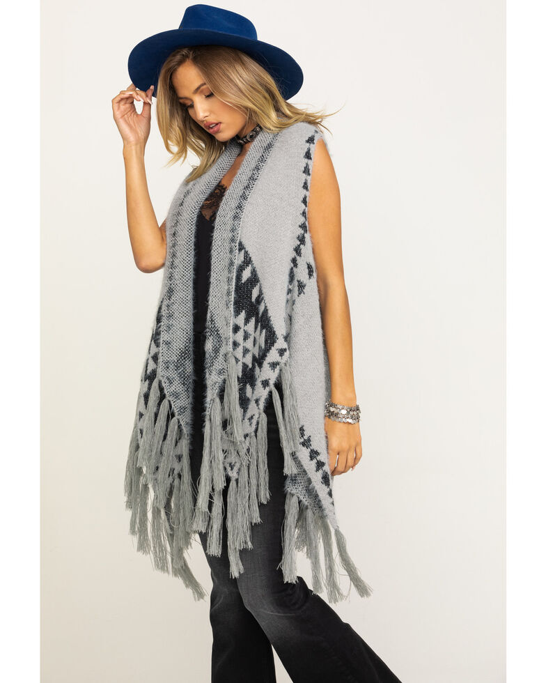 Shyanne Women's Winter Wooly Fringed Whisper Aztec Knit Shawl, Grey, hi-res