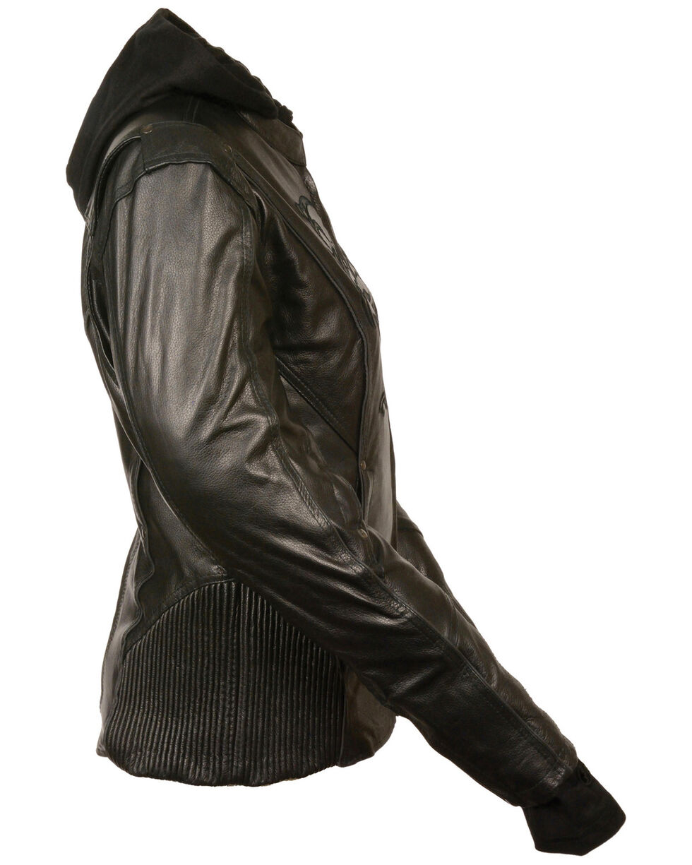 Milwaukee Leather Women's 3/4 Jacket With Reflective Tribal Detail - 4X, , hi-res